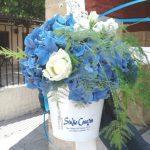 Μεταλικο κουβαδάκι με μπλε ορτανσίες